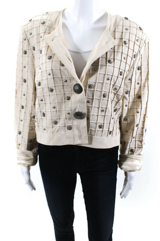 Lower Price with Double D Ranch Womens Studded Button Down Jacket Beige Size Large Elegant And Graceful