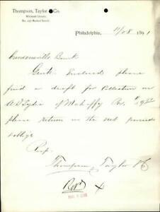 1891 Philadelphia Letter Thompson,Taylor & Co Letter or Correspondence W.D.Lydic