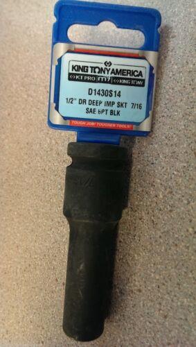 "KT Pro Tools King Tony D1430S14 1//2/"" Drive 6-Point 7//16/""  Deep Impact Socket"
