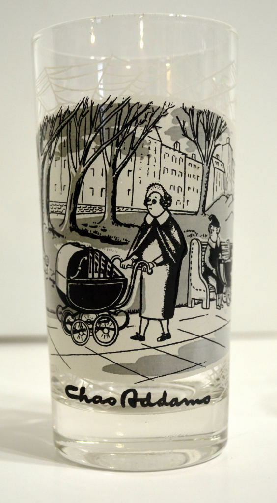 Chas ADDAMS 5 1 2  GLASS   TUMBLER Mom w Caged Baby or Demon in Carriage
