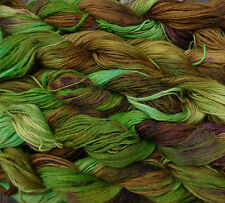 Pure wool  yarn, fingering weight,  hand dyed brown and green,  5 skeins, 9oz.