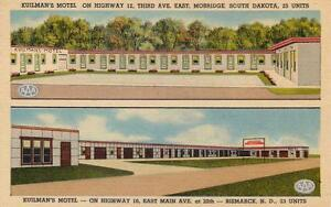 KUILMAN-039-S-MOTEL-Mobridge-SD-amp-Bismarck-ND-North-amp-South-Dakota-Roadside-Postcard