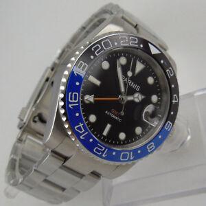 40mm-parnis-black-dial-Datum-Saphirglas-GMT-Automatisch-Movement-Uhr-men-039-s-Watch