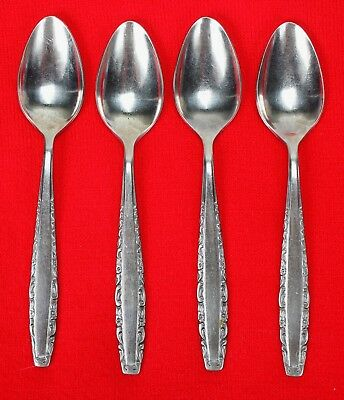 "4x Teaspoons Oneida Northland Love Story Stainless Flatware 6 1/4"" Black Accent Home & Garden"