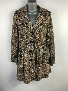 WOMENS-NEW-LOOK-ANIMAL-PRINT-SMART-CASUAL-SINGLE-BREAST-BELT-TRENCH-COAT-SIZE-8