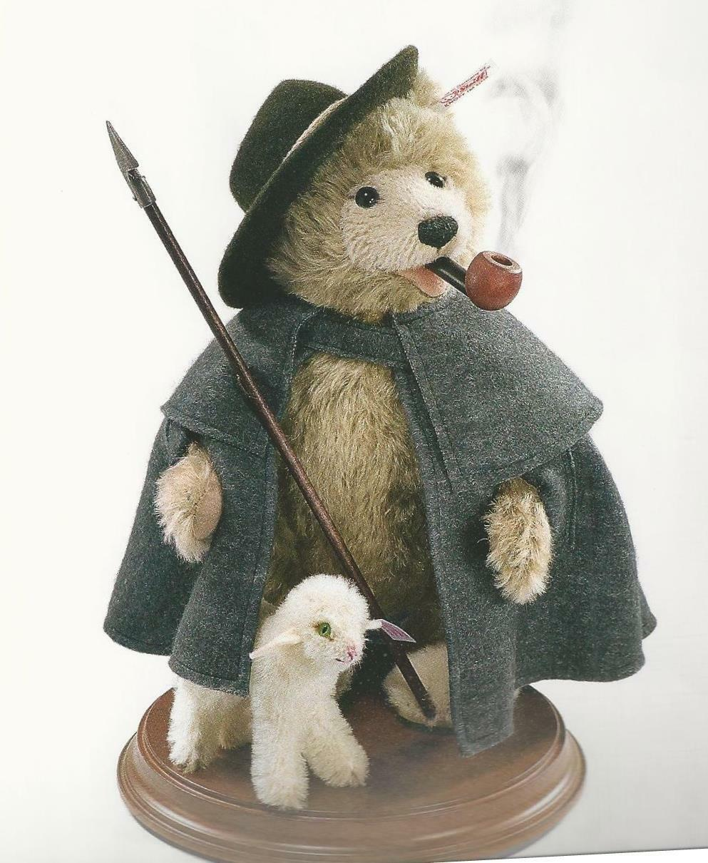 STEIFF  TEDDY BEAR SMOKER BEAR SHEPHERD WITH LAMB  EAN 037153 JOINTED SMOKER
