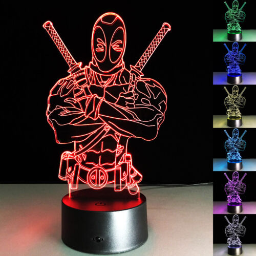 3D LED Night Light Deadpool Acrylic Touch Swift Table Desk Bed Lamp Kids Gifts