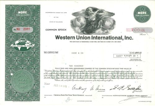 Inc Western Union International /> 1972 old stock certificate share