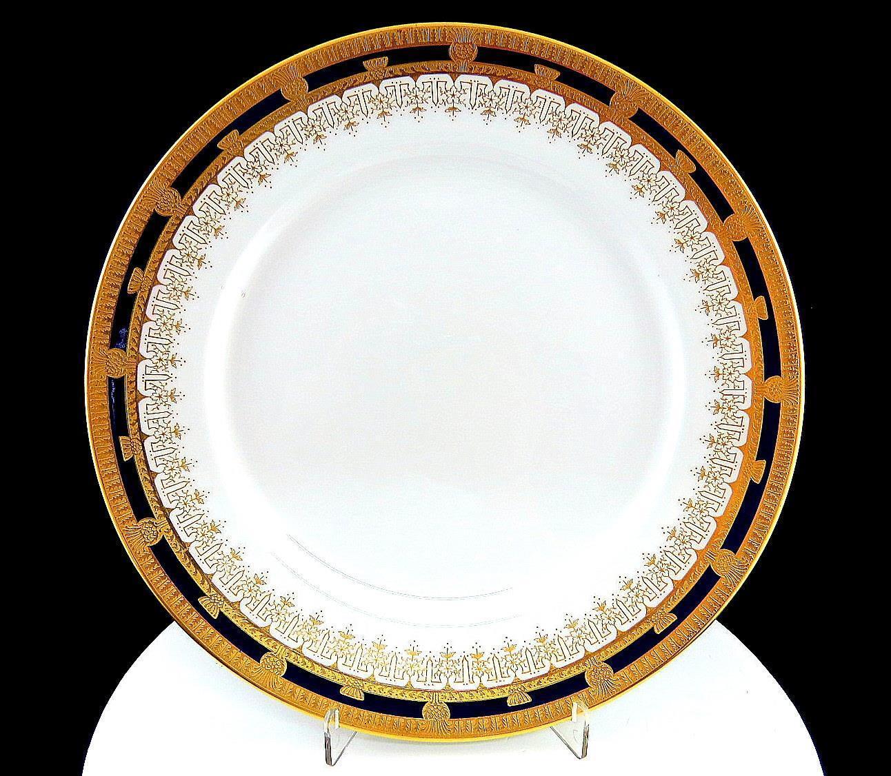 Lenox Raro Doppio oro sopra Cobalto Bordo Flower & Urn Design 10 1cm Piatto