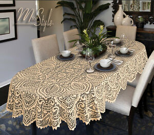 Attrayant Image Is Loading Oval Round Lace Tablecloth White Or Beige Large