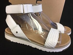 5b167d13dd4 Details about Ugg Australia Laddie Women's Ankle Strap White Sandal 1015817  Strappy shoes