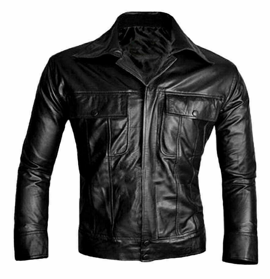 Mens Leather Jacket Famous Black Biker Stylish Real Bik