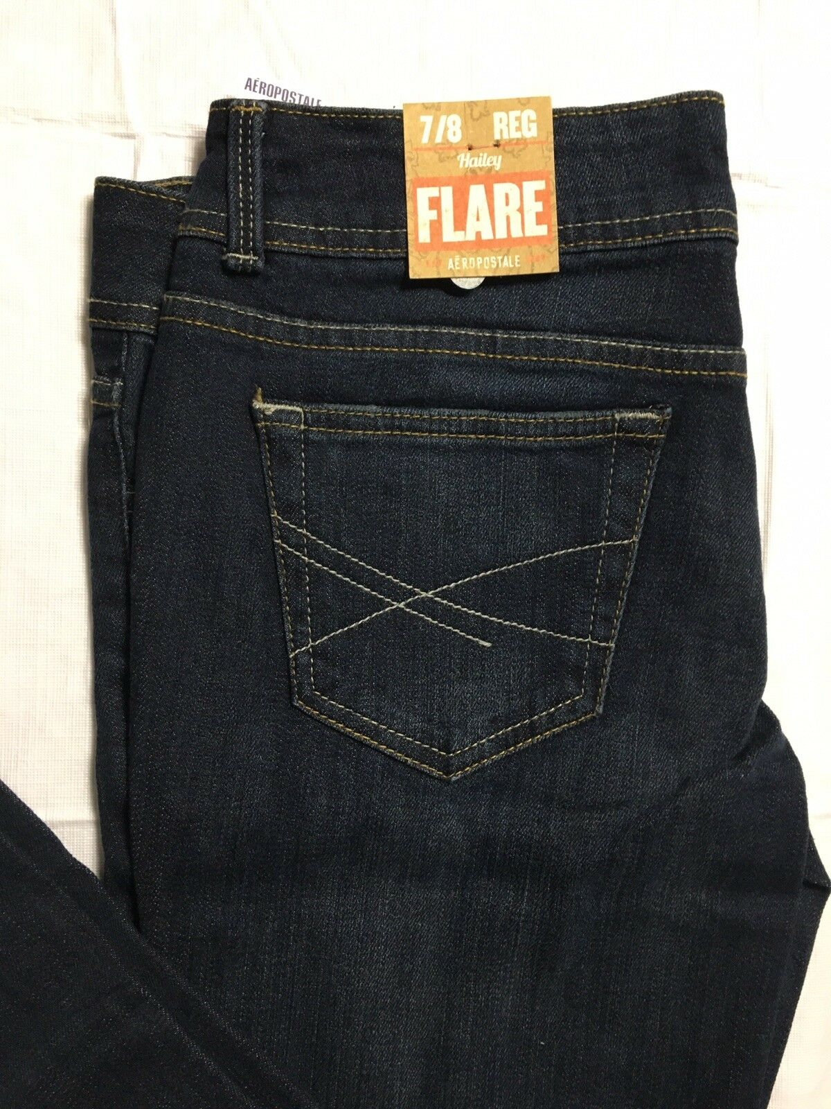 Aeropostale Hailey Jeans Size 7 8 Regular Flare Leg Low Rise Stretch Distressed