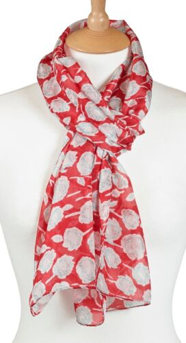 Quintessential 100/% Pure Silk Luxury Scarf Printed In Rose Red 33x170cm