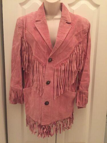 Cambridge Dry Goods Pink Leather Fringe Jacket