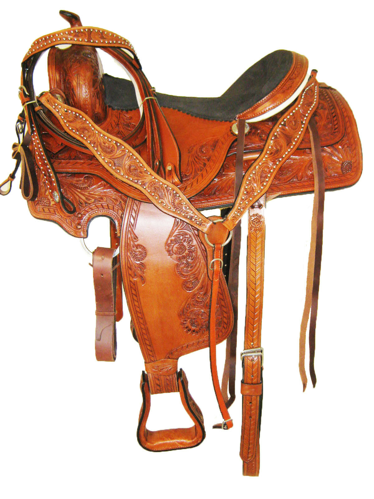 WESTERN PLEASURE TRAIL SADDLE SET goldEN TAN 17  RAWHIDE CANTLE (2006) NEW