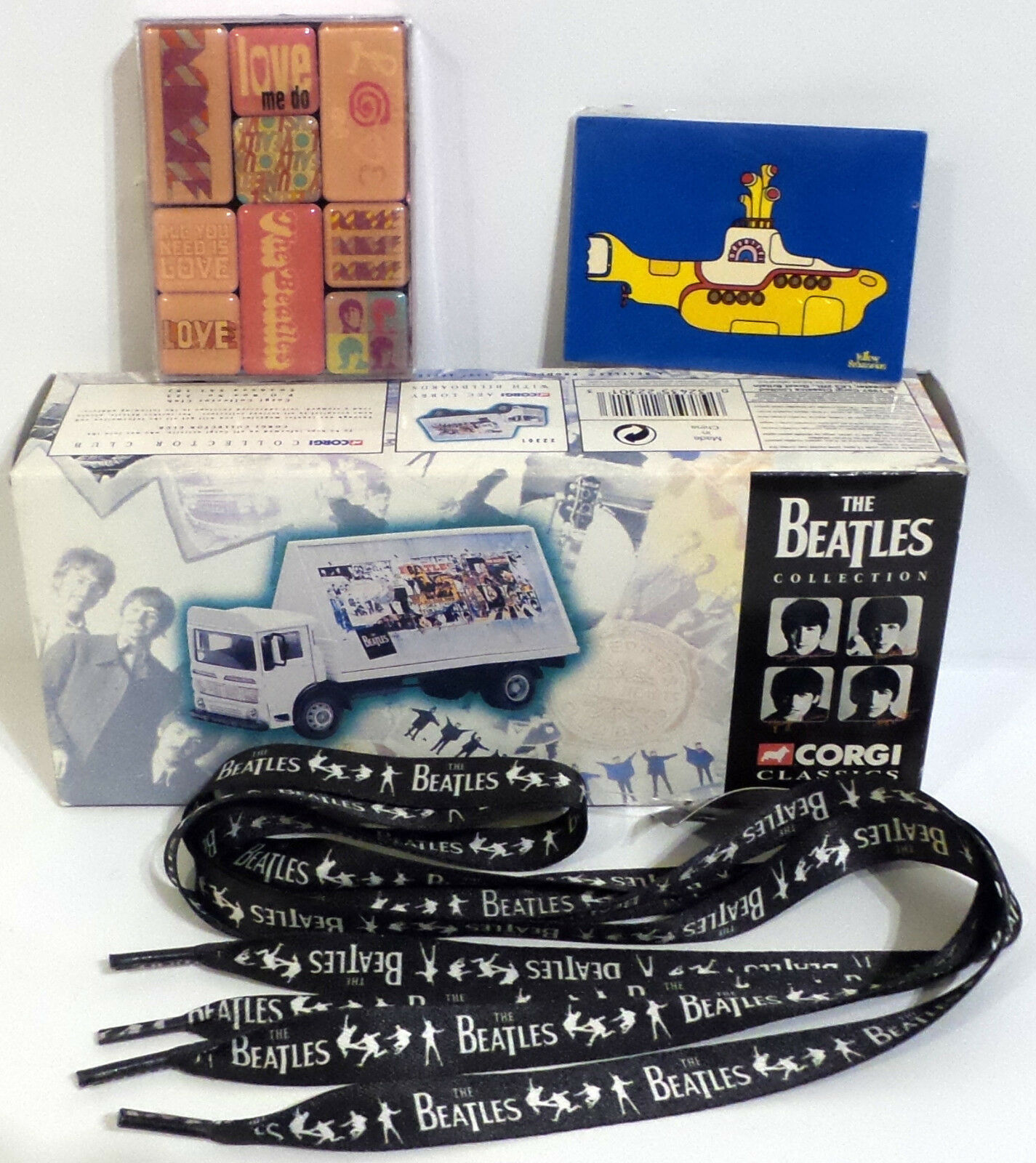 THE BEATLES   AEC 4 WHEEL FLATBED LORRY, MAGNETS, SHOELACES BUNDLE (TK) (SC)