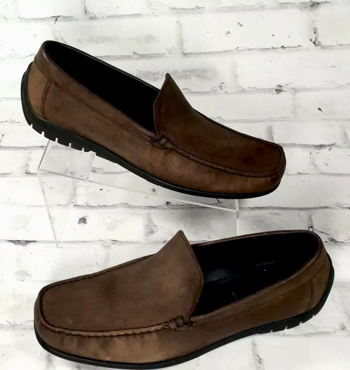 Mens Ecco Brown Leather Loafers size 46 Casual Slip On Very Nice