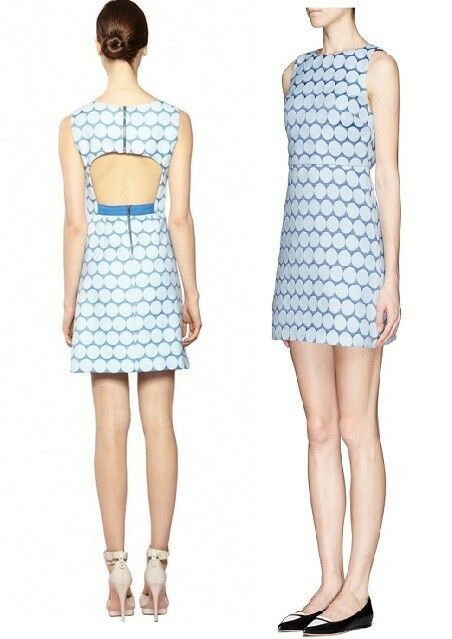 NWT Alice + Olivia Tamara Dot Print A-Line Dress bluee Size 4 SOLD OUT Online