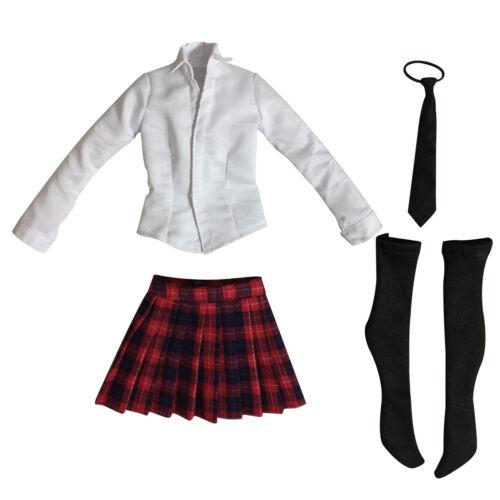 "1//6 Scale Girls/' Shirt Plaid Skirt Set Student Clothes for 12/"" Phicen Kumik Body"