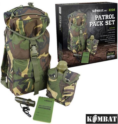 Kids DPM Camo Army Outdoor Patrol Pack Play Adventure Set Water Bottle Rucksack