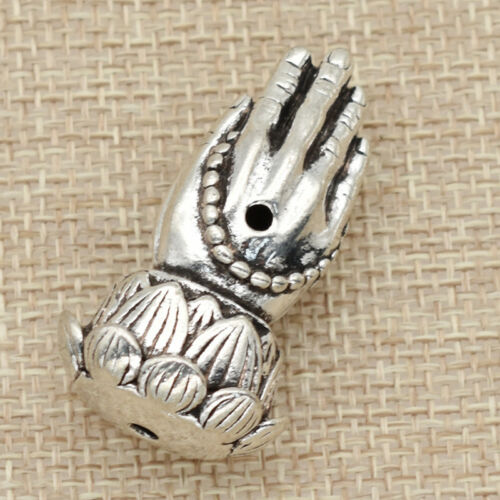 1pc Silver Pray Hands With Lotus Bead Metal For Rosary Making Buddha Three Holes
