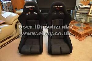 2x-Large-Bride-MR-Full-Black-Fibre-glass-back-Bucket-seats-racing-non-recliner