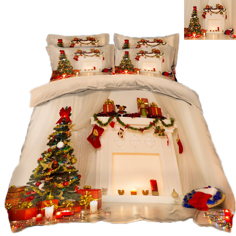 3D Christmas Xmas Tree 6332 Bed Pillowcases Quilt Duvet Cover Set Single KingUK