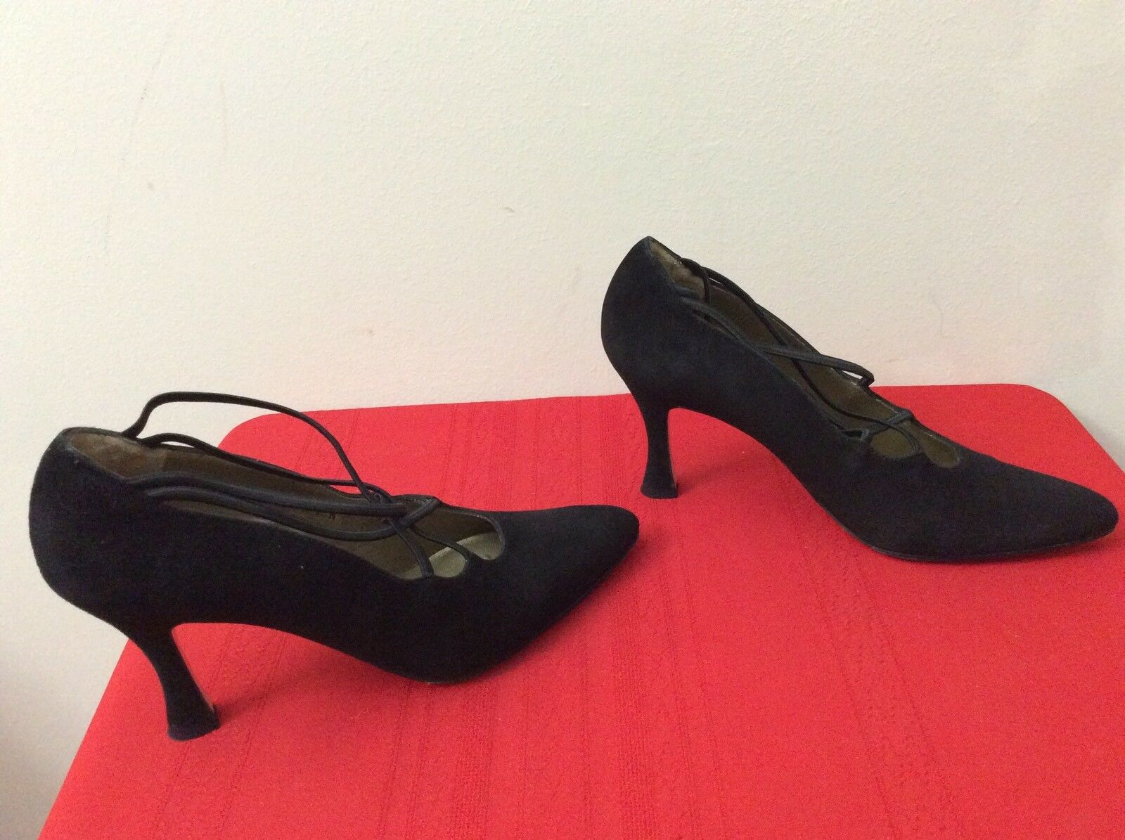 SESTO MEUCCI OLE Womens Black Suede Strappy Mary Jane Pumps shoes 7.5N. (b38