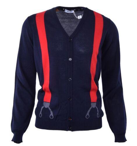 MOSCHINO Merino Wool Cardigan with Suspenders Print Blue Red Sweatshirt 04477