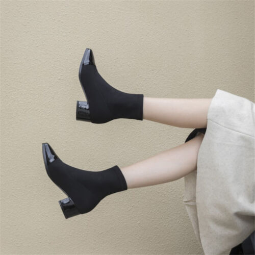 Women/'s Mid-Calf Knitted Sock Boots Square Toe Patent Leather Block Heel Booties