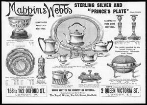 1899-Antique-Print-ADVERTISING-Mappin-Webb-Sterling-Silver-Prince-039-s-Plaet-12