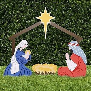 classic outdoor nativity set holy family yard scene mary joseph cradle christmas - Outdoor Christmas Decorations Nativity Scene