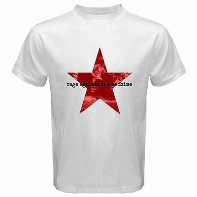 New Rage Against The Machine *Stacked Star Logo Men's White T-Shirt Size S-3XL