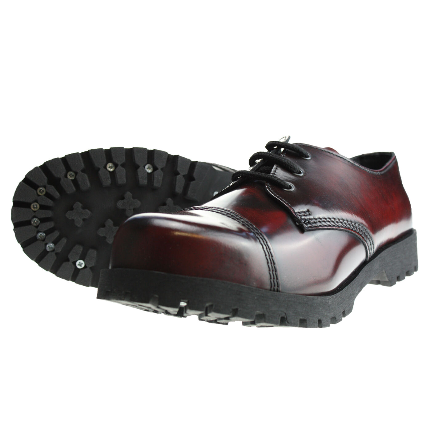 Stiefel Rub-Off and Braces 3-Loch Burgundy Rub-Off Stiefel Schuhe Rangers Rot Schwarz Stahlkappe ac9244