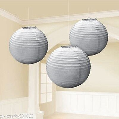 LARGE SILVER PAPER LANTERNS (3) ~ Baby Bridal Shower Birthday Party Supplies