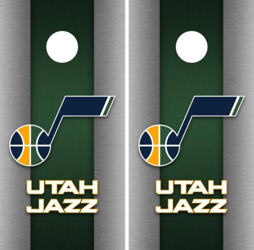 Utah Jazz Cornhole Wrap NBA Game Skin Board Vinyl Decal Art Decor Set CO724