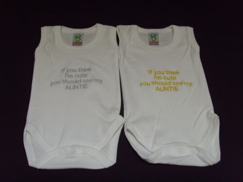 Funny Embroidered Personalised Vest Baby Shower Gift If you think im cute auntie