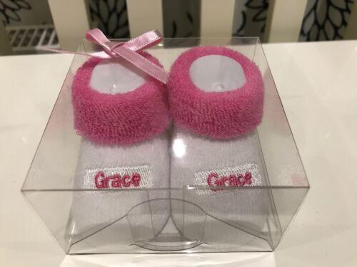 Suki ~ Baby/'s First Chaussettes ~ personnalisé bébé chaussures//chaussons Cadeau ~ Grace