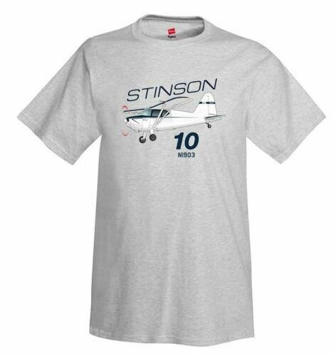 Stinson 10 Blue Airplane T-Shirt Personalized with Your N#