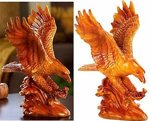 Stunning Family Heirloom Quality ** FAUX WOODEN EAGLE STATUE SCULPTURE ** NIB