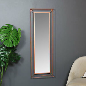 Large-rectangle-metal-copper-colour-framed-wall-mirror-vintage-retro-chic-vanity