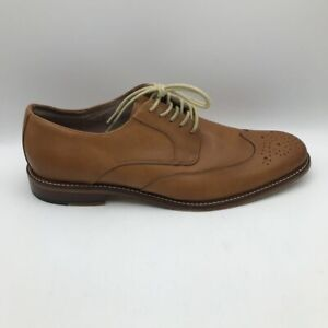 Banana Republic Mens Oxford Dress Shoes Brown Wingtip Lace Up Leather 9.5 M