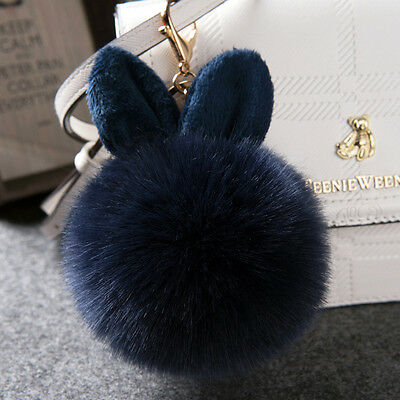 Fashion Fluffy Faux Fur Rabbit Ear Pompom Ball HandBag Pendant Car Key Chain