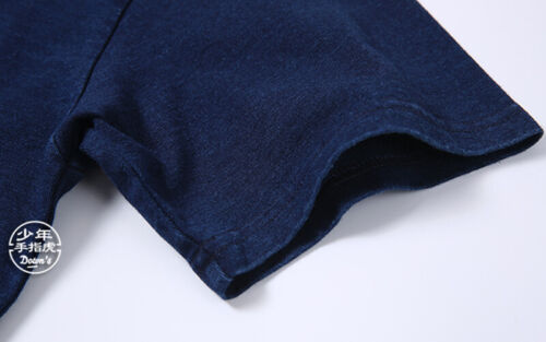 2019 BOB DONG Indigo Henley Plain T-Shirts Vintage Short Sleeve Men/'s Pocket Tee
