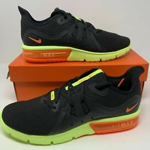 Details about Nike Air Max Sequent 3 Black Total Orange Volt 921694 012 Men's Running Shoes