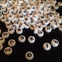 25/100/250 Acryl Buchstaben Perlen Beads Weiß - 7mm - Wunschtext - frei wählbar