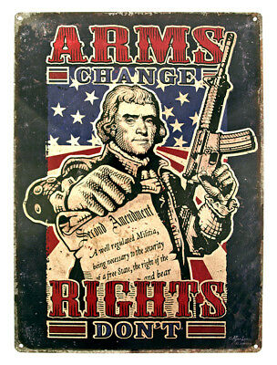 """Rights Don't"""" 2nd Amendment Tin Sign 11x17 Inches Collectibles Advertising Responsible """"arms Change"""