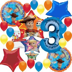 Detalles Acerca De Disney Toy Story 4 Fiesta Provisiones 3rd Cumpleaños Paquete De Decoración Con Globos Mostrar Título Original