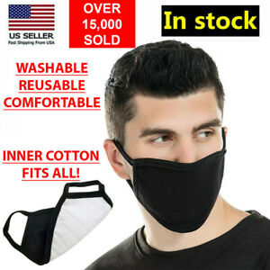 Black Unisex Face Mask Reusable Washable Cover Masks Fashion Cloth Men Women USA